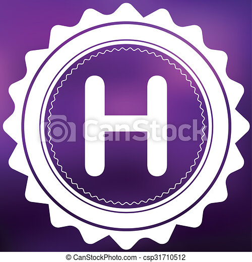 Retro Icon Isolated on a Purple Background - H - csp31710512