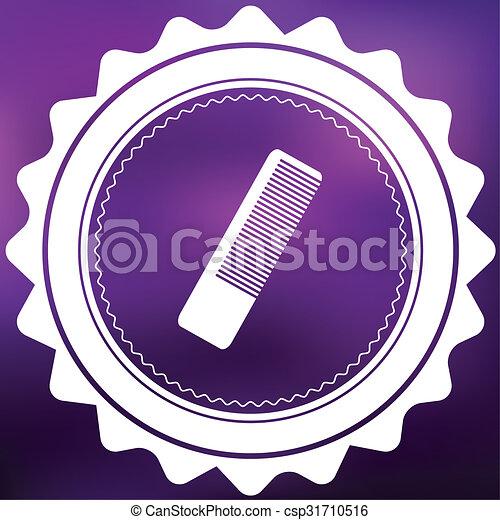 Retro Icon Isolated on a Purple Background - Hairbrush - csp31710516