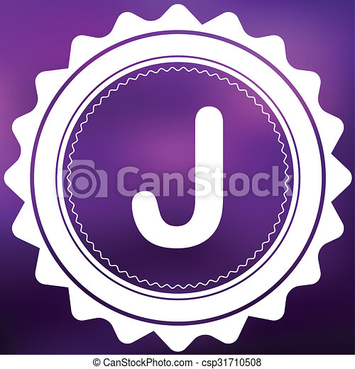 Retro Icon Isolated on a Purple Background - J - csp31710508