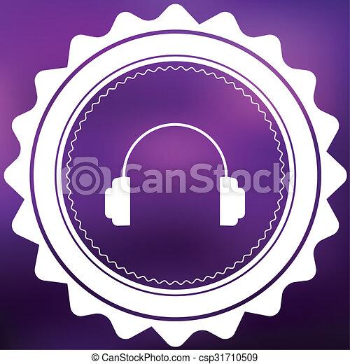 Retro Icon Isolated on a Purple Background - Headphones - csp31710509