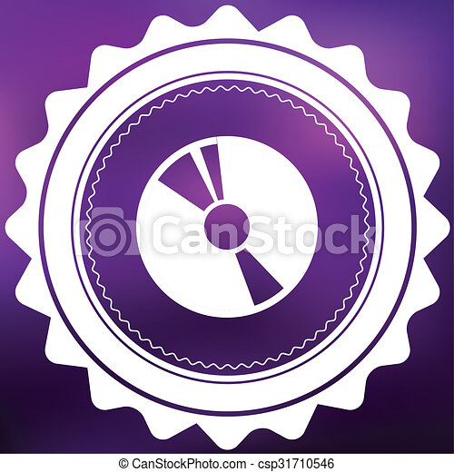 Retro Icon Isolated on a Purple Background - CD - csp31710546