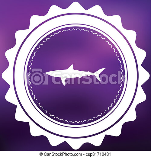 Retro Icon Isolated on a Purple Background - Shark - csp31710431
