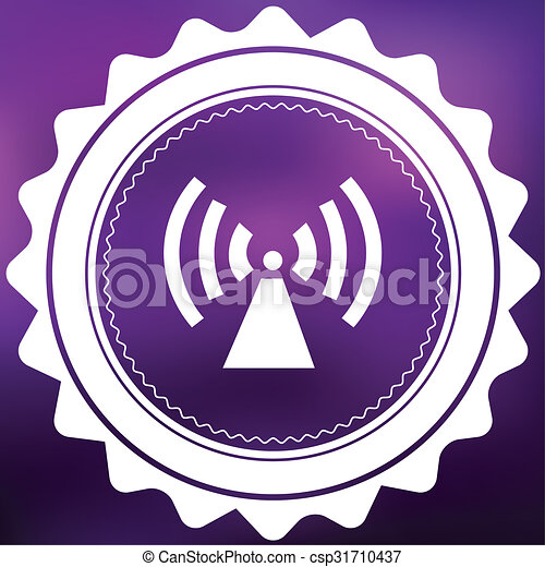 Retro Icon Isolated on a Purple Background - Radio Tower - csp31710437
