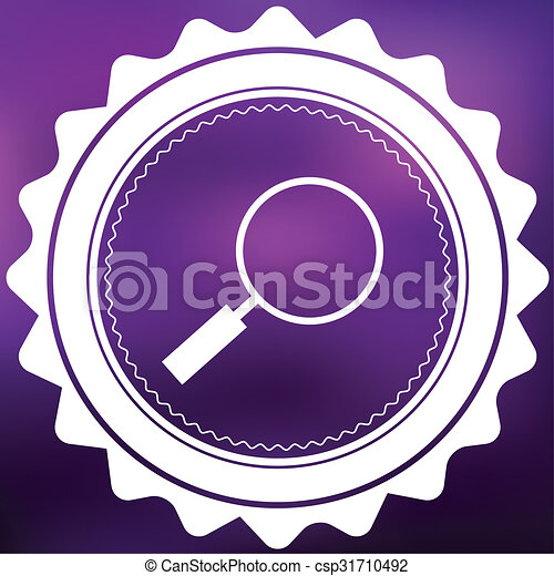 Retro Icon Isolated on a Purple Background - Magniying Glass - csp31710492