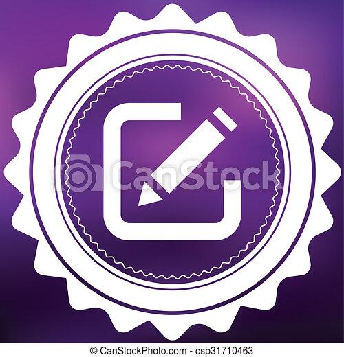 Retro Icon Isolated on a Purple Background - Pen - csp31710463