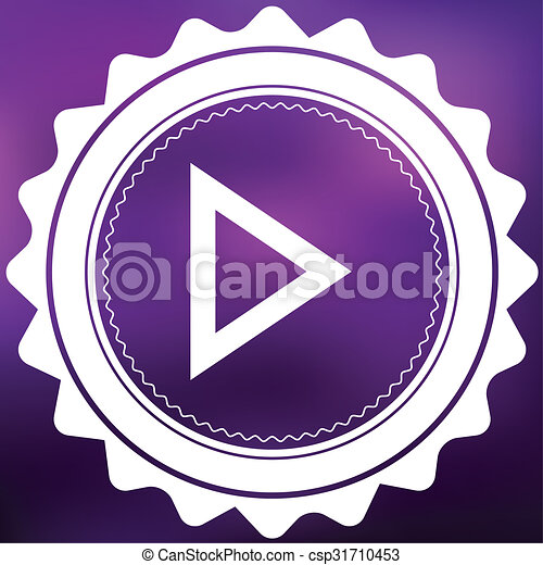 Retro Icon Isolated on a Purple Background - Play - csp31710453