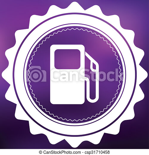 Retro Icon Isolated on a Purple Background - Petrol Pump - csp31710458