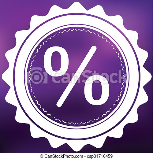 Retro Icon Isolated on a Purple Background - Percent - csp31710459