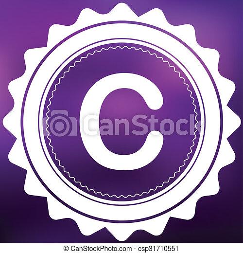 Retro Icon Isolated on a Purple Background - C - csp31710551