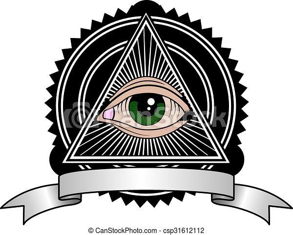 Retro Illuminati All Seeing Eye Pyramid Retro Symbol