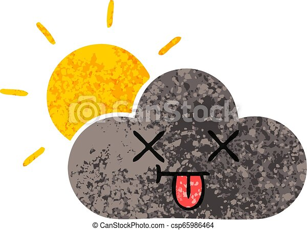 retro illustration style cartoon storm cloud and sun - csp65986464