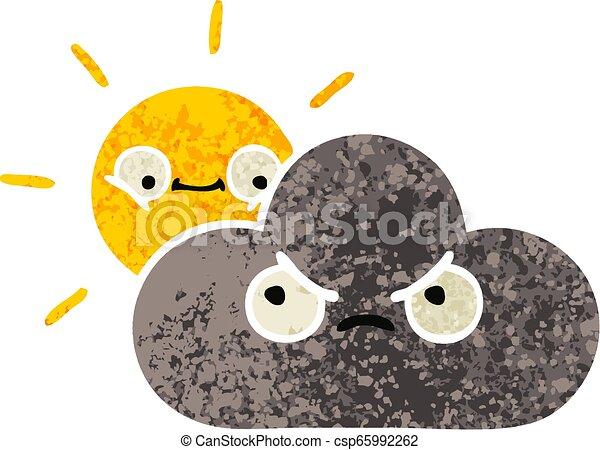 retro illustration style cartoon storm cloud and sun - csp65992262