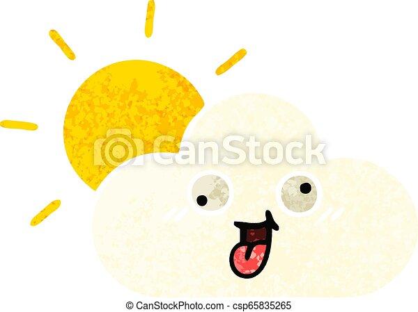 retro illustration style cartoon sun and cloud - csp65835265