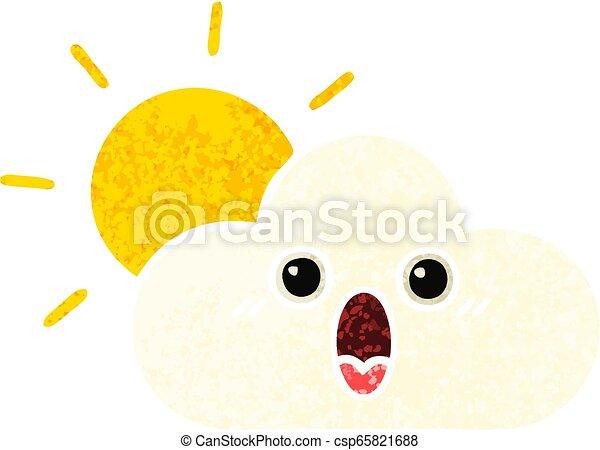 retro illustration style cartoon sun and cloud - csp65821688