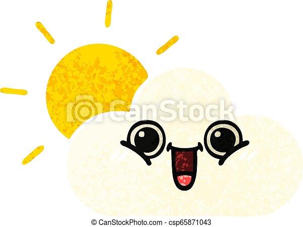 retro illustration style cartoon sun and cloud - csp65871043