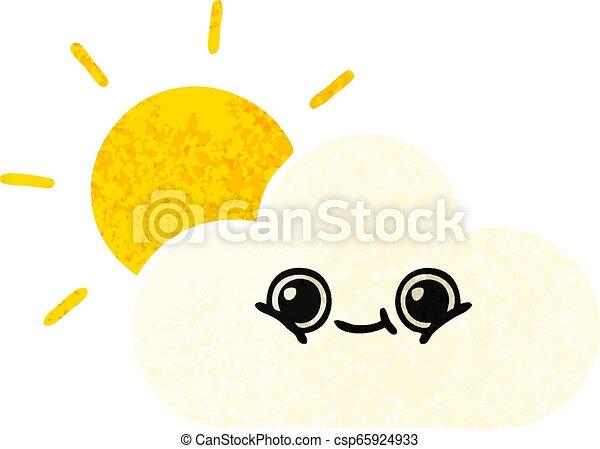 retro illustration style cartoon sun and cloud - csp65924933