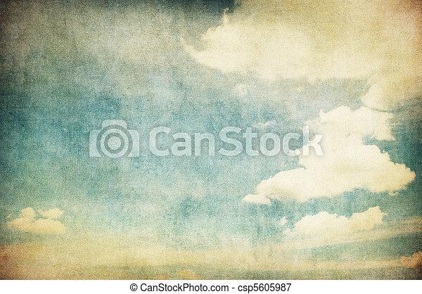 retro image of cloudy sky - csp5605987