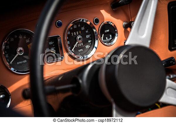 Retro interior of vintage car - csp18972112