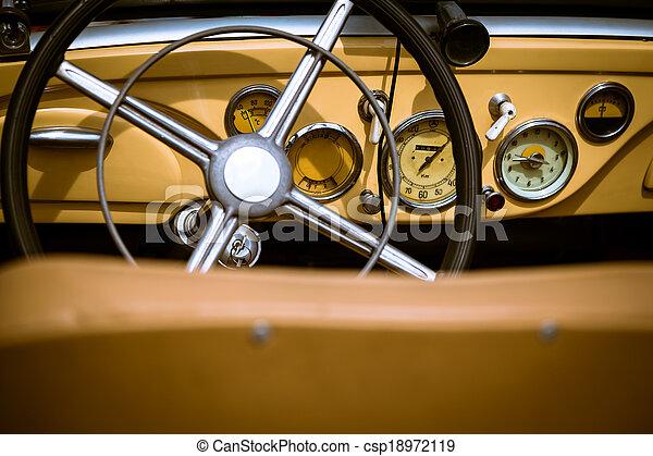 Retro interior of vintage car - csp18972119