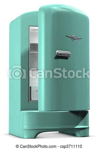 Retro, kühlschrank. Türkis, gefärbt, ausschnitt, schließt,... Stock ...