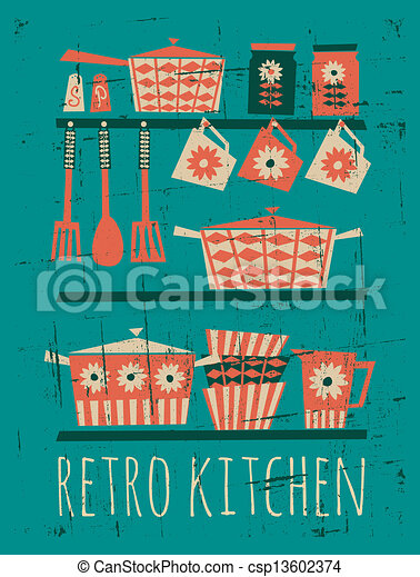 Retro Kitchen Poster Poster With Kitchen Items In Retro Style