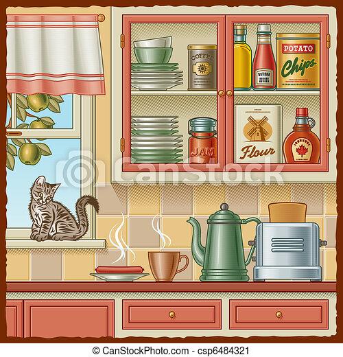 kitchen cabinet clipart. retro kitchen csp6484321 cabinet clipart