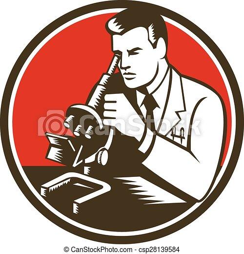 retro, laboratoire, chimiste, chercheur, scientifique, microscope - csp28139584