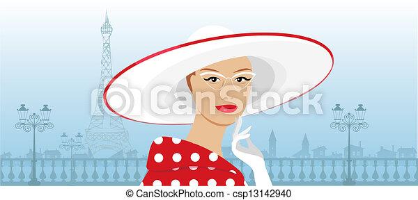 Retro lady in a big hat - csp13142940