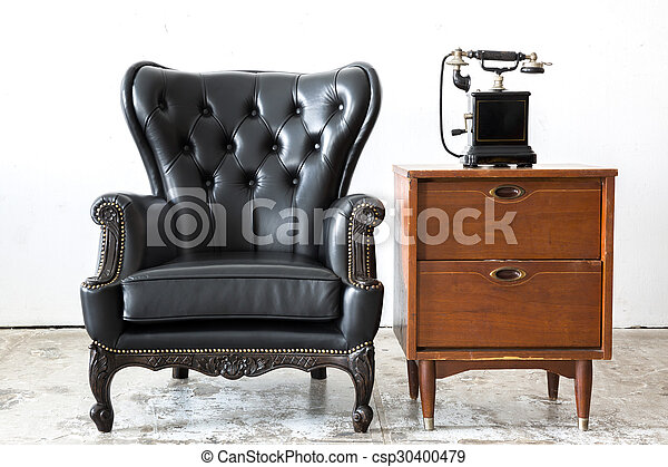 Sensational Retro Leather Chair With Telephone Dailytribune Chair Design For Home Dailytribuneorg