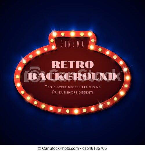 Retro Light Sign Frame With Bulbs Vintage Cinema Hollywood Billboard Vector Illustration