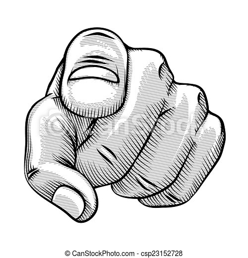 Retro line drawing of a pointing finger - csp23152728