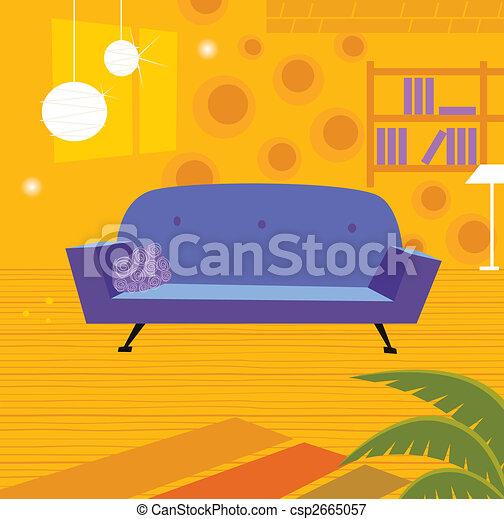 Retro living room in retro style - csp2665057