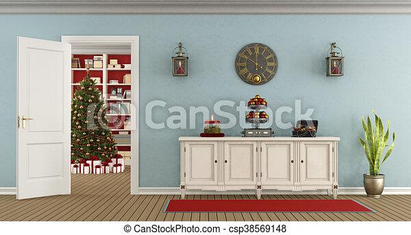 Retro Art Woonkamer : Retro living room with christmas decoration retro living room