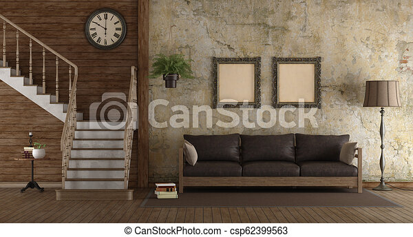 Retro living room with wooden stair