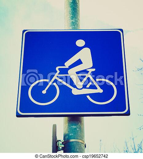 Retro look Bike lane sign - csp19652742
