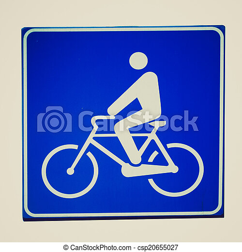 Retro look Bike lane sign - csp20655027
