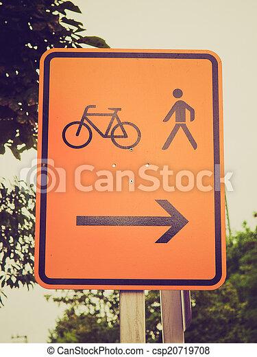 Retro look Bike lane sign - csp20719708