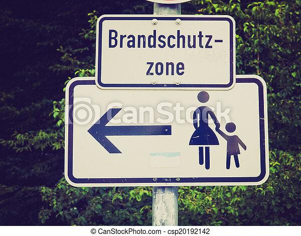 Retro look Pedestrian area sign - csp20192142