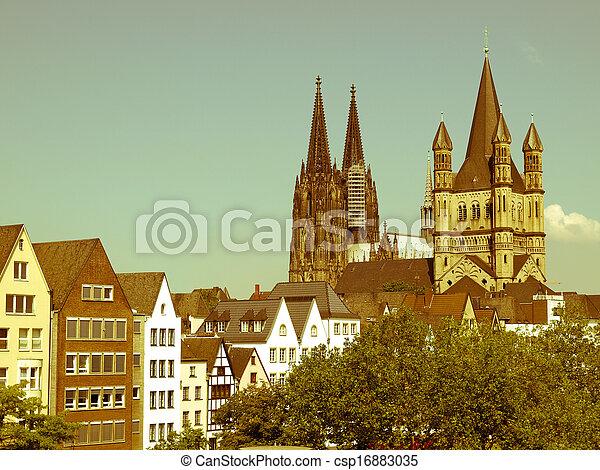Retro Looking Koeln Dom Vintage Look Koelner Dom Cologne Cathedral