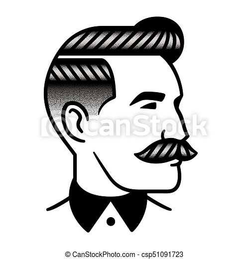 Retro Man Hairstyle Illustration Retro Man Hairstyle With Mustache