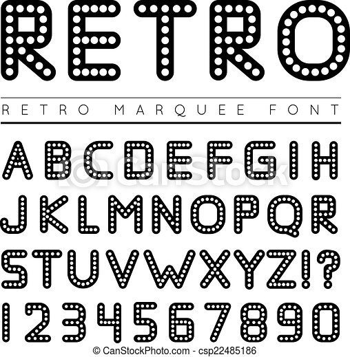 Retro marquee font. vector illustration on white background.