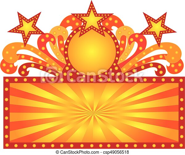 retro marquee sign with sunrays stars illustration retro vector rh canstockphoto com movie marquee clipart marquee clipart free