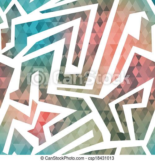 retro maze seamless pattern with triangle background - csp18431013