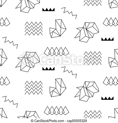 Retro memphis seamless pattern  80-90s style