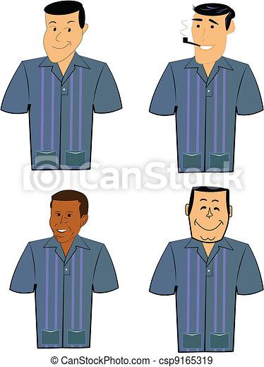 retro men in bowling shirts - csp9165319