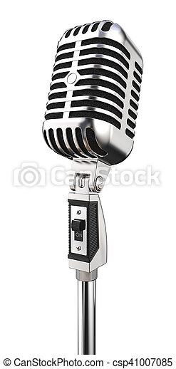 Micrófono retro aislado. - csp41007085