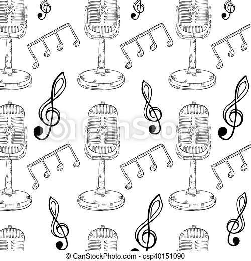 Retro microphone and music notes background musical eps vectors retro microphone and music notes background csp40151090 voltagebd Image collections