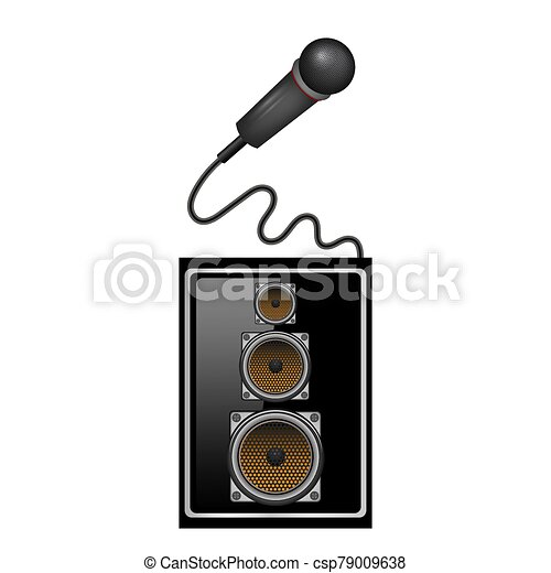 Retro Microphone Icon and Musical Sound Speaker Isolated on White Background - csp79009638