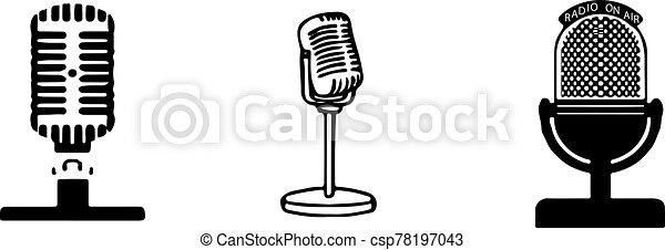 retro microphone icon isolated on background - csp78197043