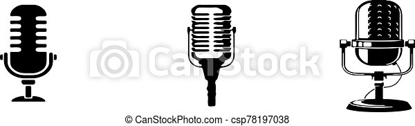 retro microphone icon isolated on background - csp78197038